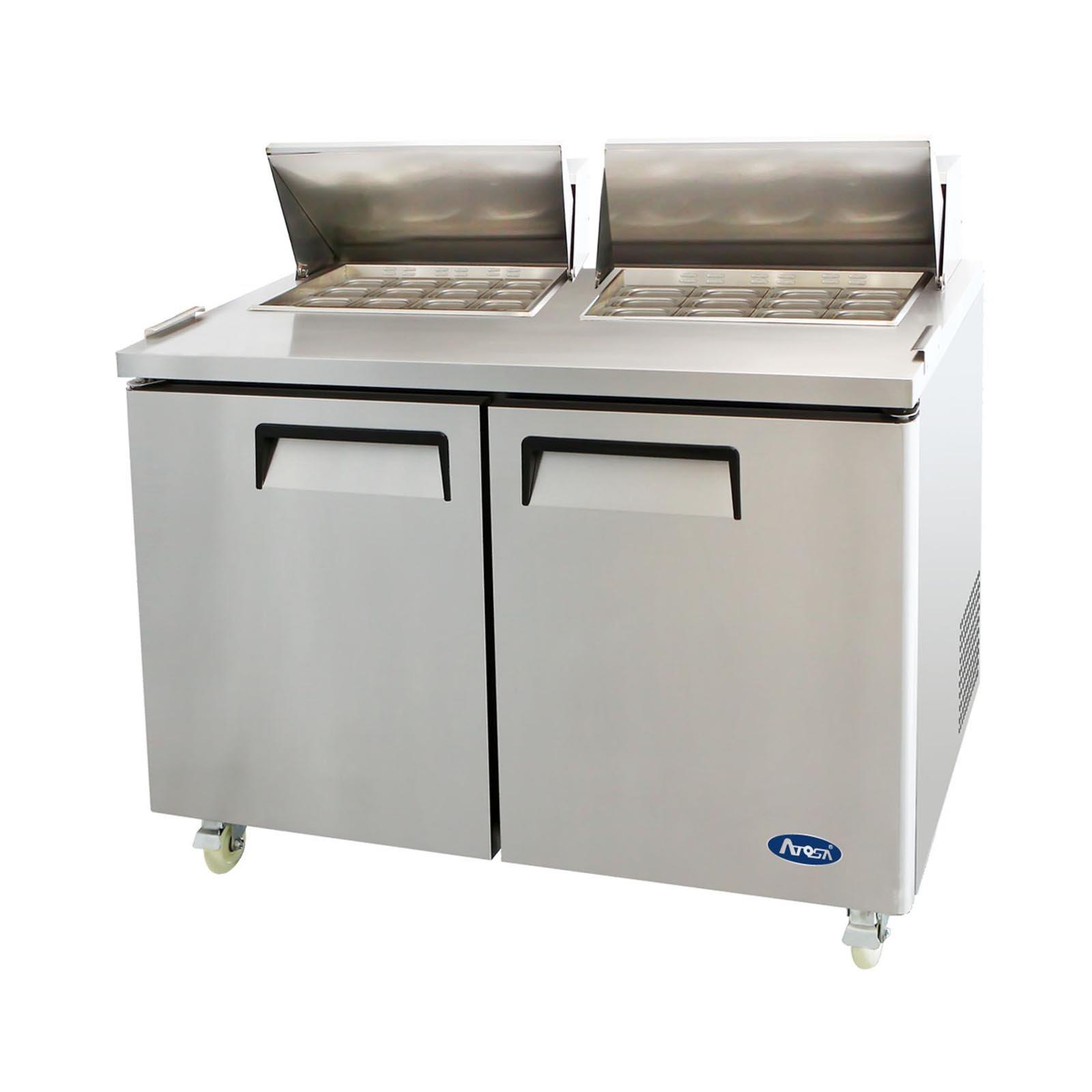 Atosa MSF8307 Stainless Steel Mega Top Sandwich Prep Table 60'' 2-Door Fridge