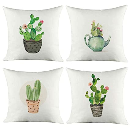 Cartoon Flowers HEYHOUSENNY Cotton Linen Throw Pillow Case Square Decorative Cushion Cover 18 X 18 Inches Pillow Covers