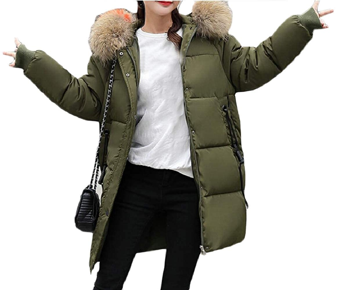 2 ouxiuli Women Loose FauxFur Collar Thicken Outerwear Padded Down Jacket Coat