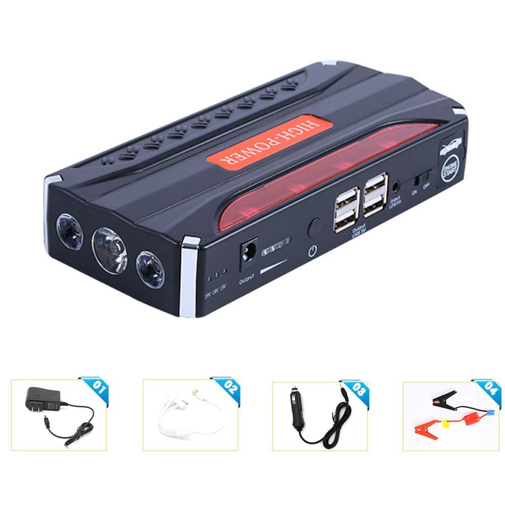 ACCDUER Démarreur de Voiture de Saut, 600A Courant de crête avec Le Saut futé Conduit comme Paquet de Batterie 9000mAh avec Le Port Double d'USB et 3 Modes de lumière de LED