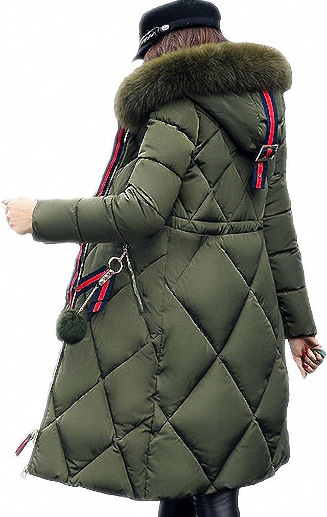 Womens Parka Big Fur Thickened Parka Stitching Slim Long