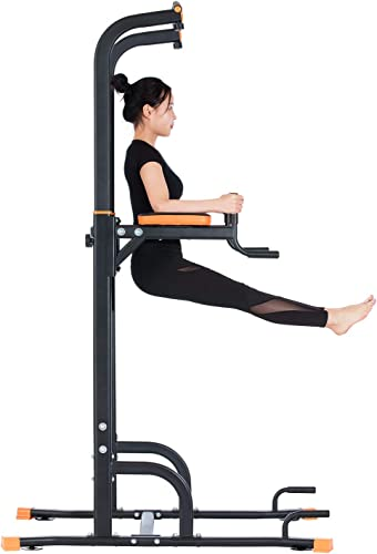 Kicode Power Tower, Pull up Dip Station with Push Up Bars, Strength Training Exercise Home Gym Equipment, Adjustable Height Heavy Duty Workout Stand Station for Home, Gym, Office, Outdoor