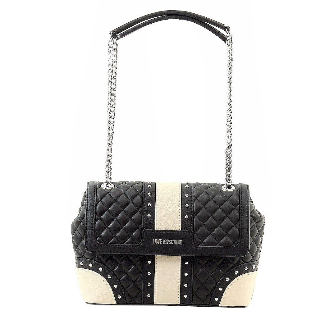 Love Moschino Women's Quilted & Studded Black Leather Flap Over Satchel Handbag