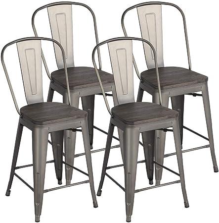 de à en Chaise avec Assise Manger Dossier cm de Bois x Bar 61 de Salle Hauteur Tabourets Métallique 4 Cuisine Yaheetech de Industriel m80OvnNw