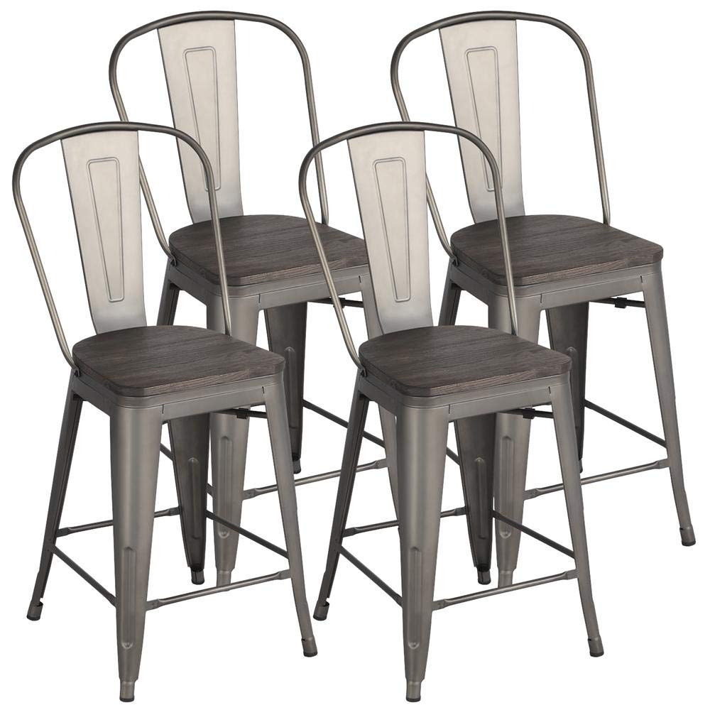 Yaheetech Metal Dining Chairs Stackable Industrial Dining Room Kitchen Chair with Wood Top Seat and High Back Indoor Outdoor Bistro Cafe Side Chairs Set of 4 Gun, Gunmetal
