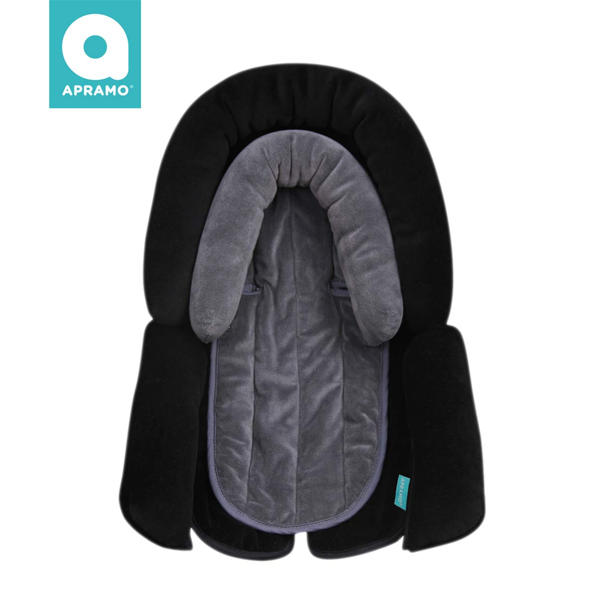 APRAMO 2-In-1 Baby Head Support Infant Toddler Head, Neck,Body Soft Cushion Perfect for Car Seats Strollers Double Layers Black Grey