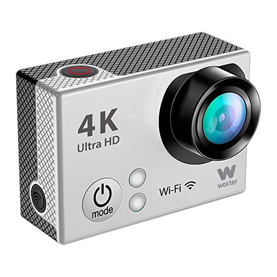 Woxter Sportcam 4K Silver - Cámara Deportiva Digital (Sumergible hasta 30m y Accesorios Múltiples para Deportes al Aire Libre, Salida HDMI, Ultra Definición ...
