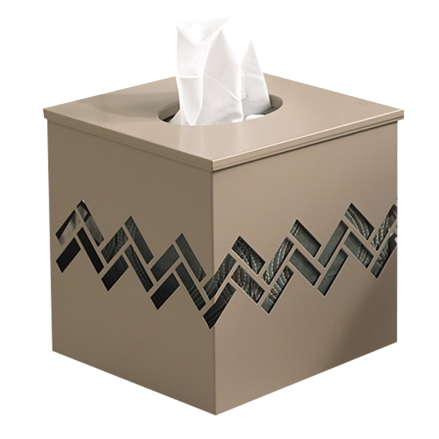 Comtelek Tissue Box Cover Square Tissue Holder Wooden Rustic Torched Bathroom Facial Tissue Dispenser with Slide-Out Bottom Panel White Novelty Splicing Napkin Holder Square