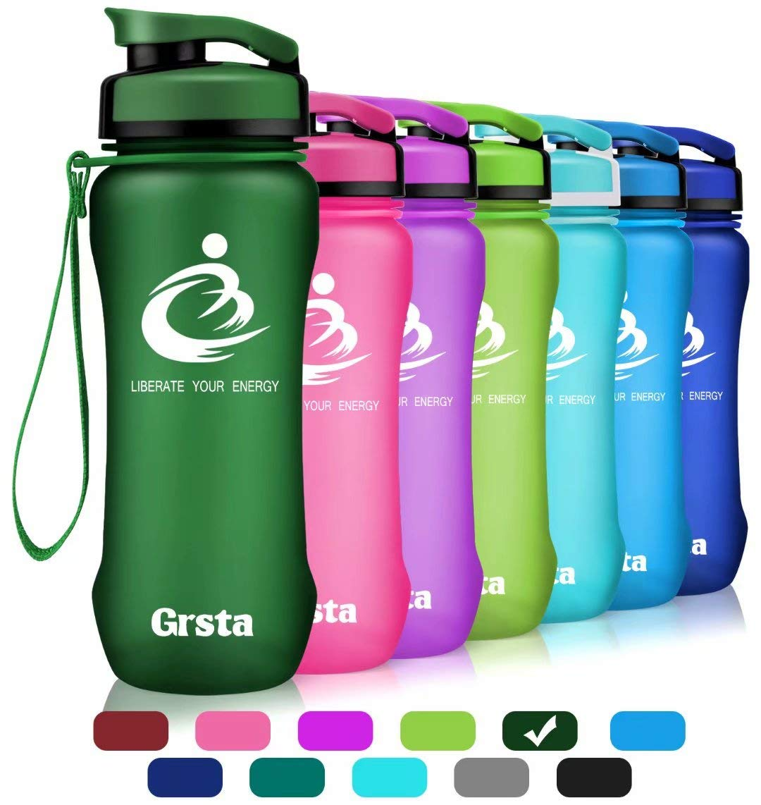 Grsta Best Sports Water Bottle Wide Mouth Leak Proof BPA Free/& Eco-Friendly Plastic Water Bottle for Outdoor//Running//Camping//Gym Flip Top /& Filter 1-Click Open 32oz/&27oz/&20oz
