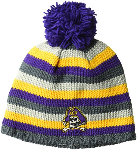 adidas NCAA East Carolina Pirates Adult Men Textured Beanie Pom, One Size, Purple ()