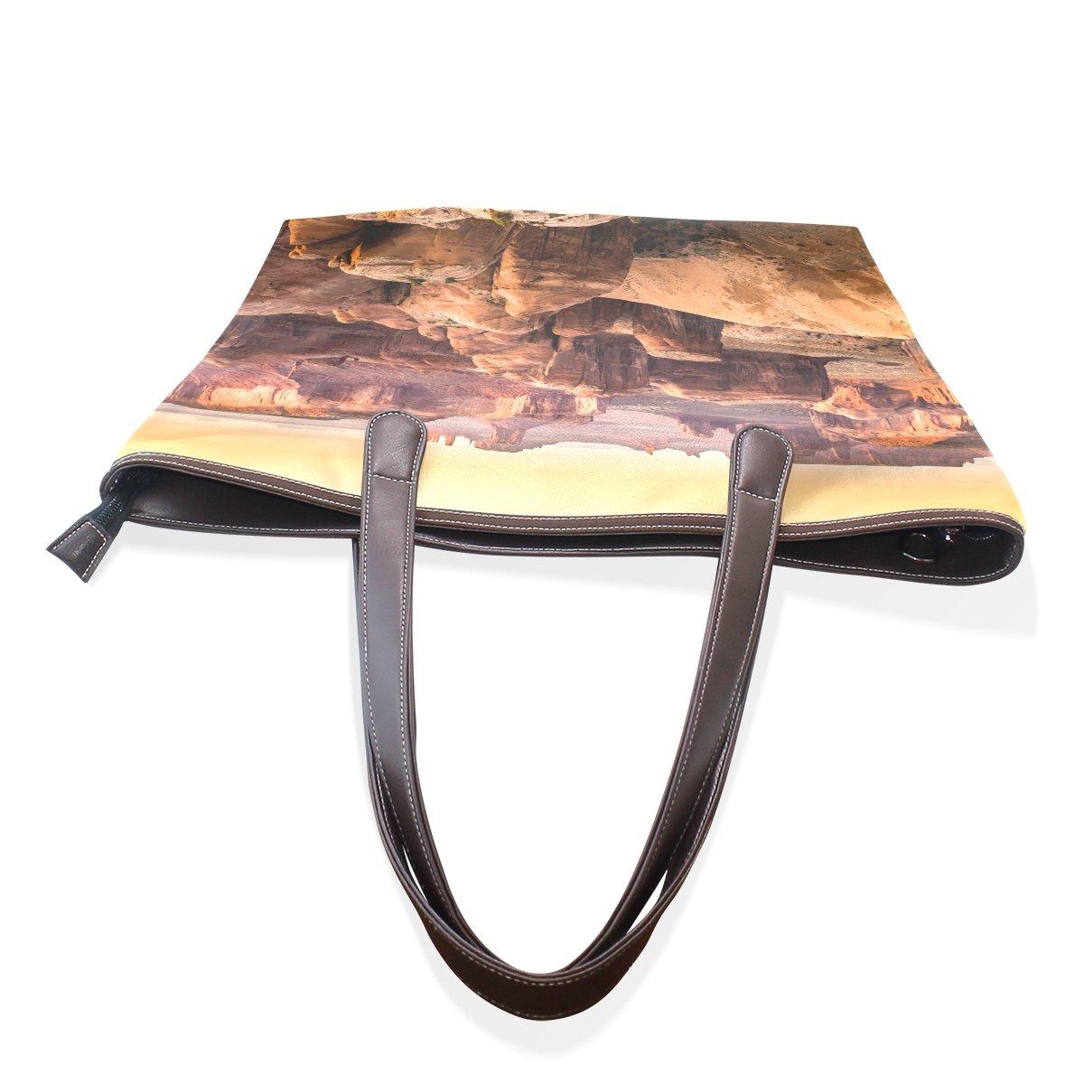 SCDS Brown Canyon PU Leather Lady Handbag Tote Bag Zipper Shoulder Bag