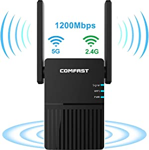 AC 1200 Mbps WiFi Range Extender Signal Booster, TaoQi Dual Band 2.4G and 5G WiFi Repeater