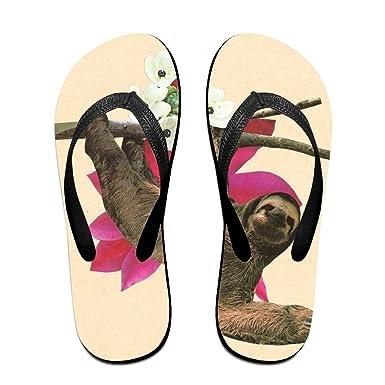 Couple Flip Flops Sloth Cute Pattern Print Chic Sandals Slipper Rubber Non-Slip Beach Thong Slippers