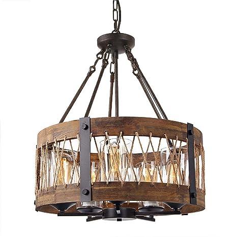 Amazon.com: Lámpara de techo redonda de madera con cuerda de ...