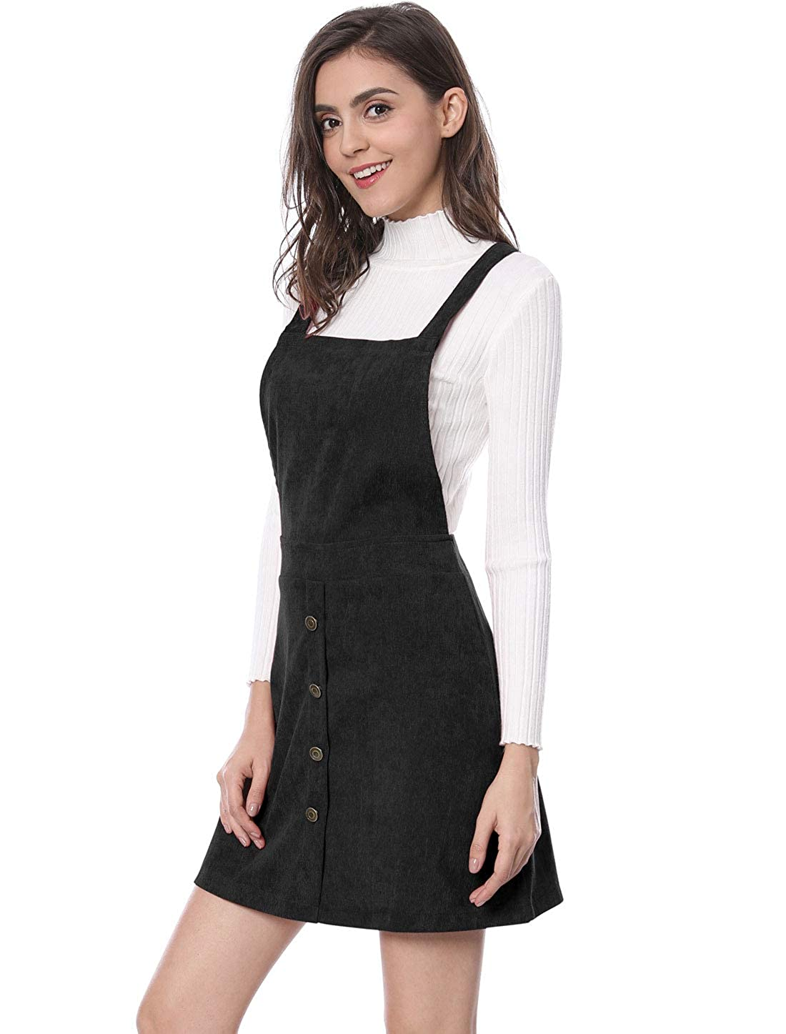 8b834db11b7 Allegra K Women s Straps Button Decor A-line Pinafore Corduroy Overall Dress  at Amazon Women s Clothing store