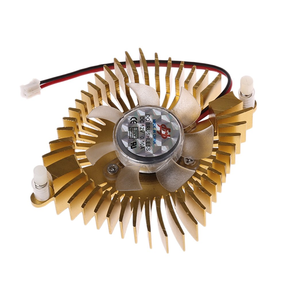 RingBuu DC 12V 80mm Video Graphics VGA Radiator Cards Cooling Fan 2Pins Mounting Hole (Gold)