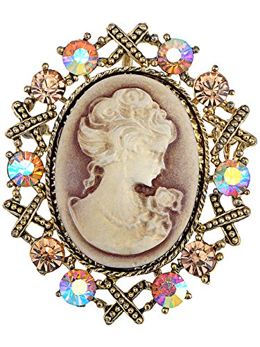 (Alilang Womens Antique Golden Tone Topaz Colored Rhinestones Vintage Victorian Cameo Brooch Pin)