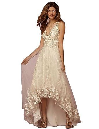 Aurora Bridal 2016 Straps Hi-Lo Wedding Dress Tulle V Neck Evening Gown Ivory 2