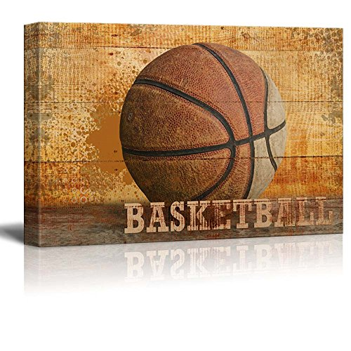 wall26 - Rustic Basketball - Vintage Hoops Wood Grain - Canvas Art Home Decor - 16x24 inches