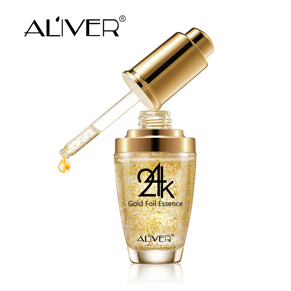 24k Pure Gold Foil Essence Serum, Makeup Primer, Moisturizing Anti-Aging Anti-Redness Acne Treament Essencial Cream, Face Skin Essence Serum Hyaluronic(30ml/1 ounce)) USYILAIMEI