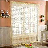 PINDIA Heart Polyester Windows Curtain - 6ft, Cream