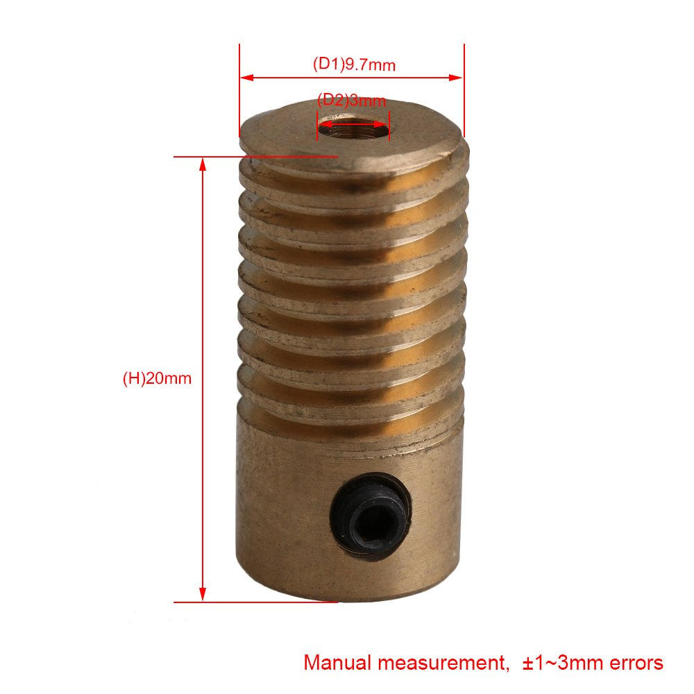 Mxfans Simple Compact 3MM Bore Dia 0.5 Modulus Brass Worm Gear Shaft 20x9.7MM