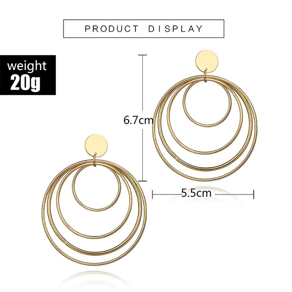 Dangling Earrings Women Retro Exaggerated Spring Earrings Alloy Geometric Size Circle Earrings Dangle Earrings Woman Girl Jewelry Earrings for Wedding Party Gift