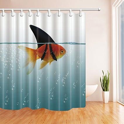 NYMB Fish Decor Goldfish Shower Curtain 69X70 Inches Mildew Resistant Polyester Fabric Bathroom Fantastic Decorations Bath
