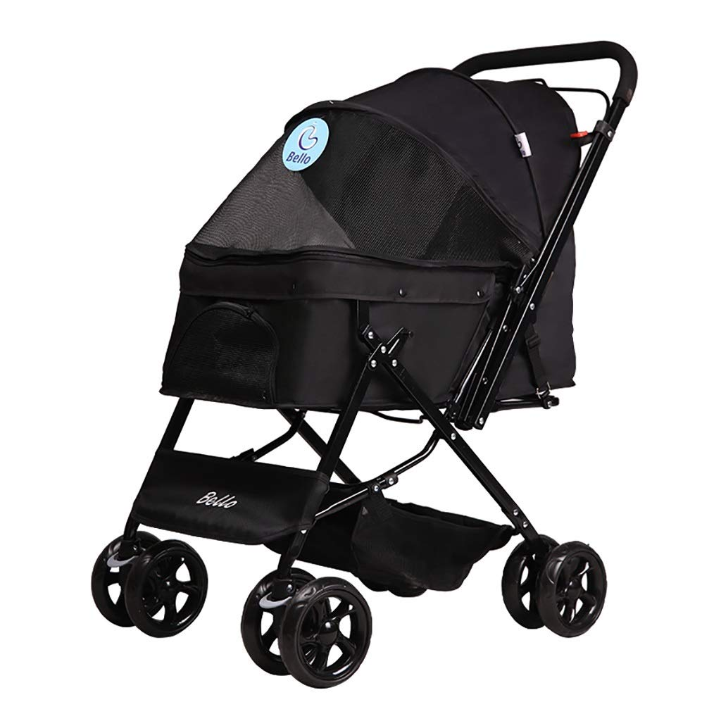 Black Foldable pet Stroller with Caster Wheels, Zipper Entry, Reversible Handle Bar, Foldable Forward and Backward Handle Design for Puppy Dogs Cats Strolling Cart, Strong Stable and Collapsible