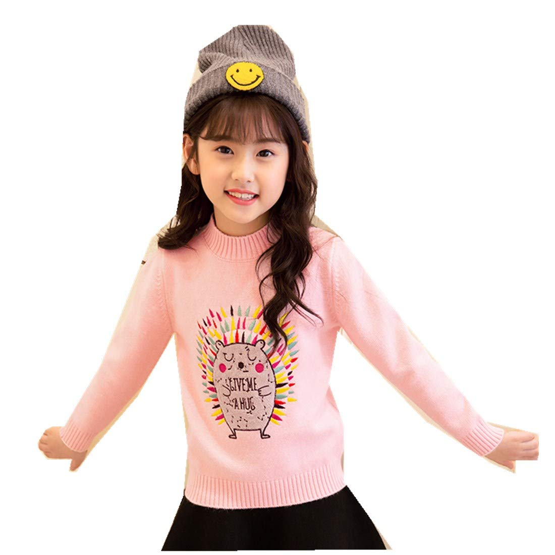 MV Girls Winter Thick Cartoon Embroidery Flower Cute Bottoming Pullover Sweater