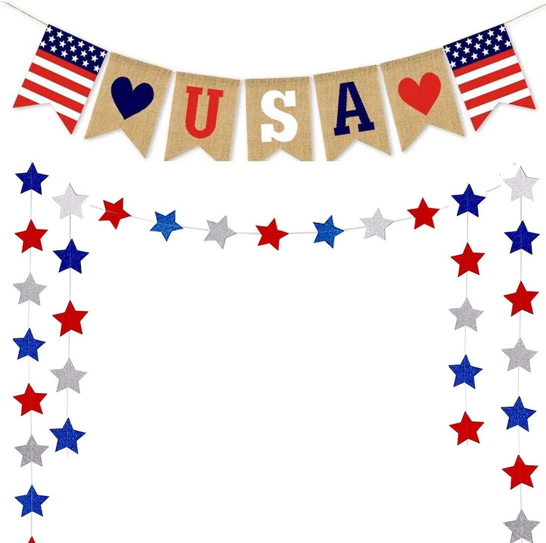 Fourth/4th of July Patriotic Decorations USA Banner Star Streamers Paper Garland American Independence Day Theme Flag Burlap Banner