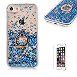 "iPhone 6 Cover,iPhone 6S Glitter Case,Funyye New Creative Floating Water Liquid Small Love Hearts Design Luxury Sparkly Bling Glitter Back Hard Shell Protective Case Cover With Ring Holder Protective Case for iPhone 6S/6 4.7""-Blue"