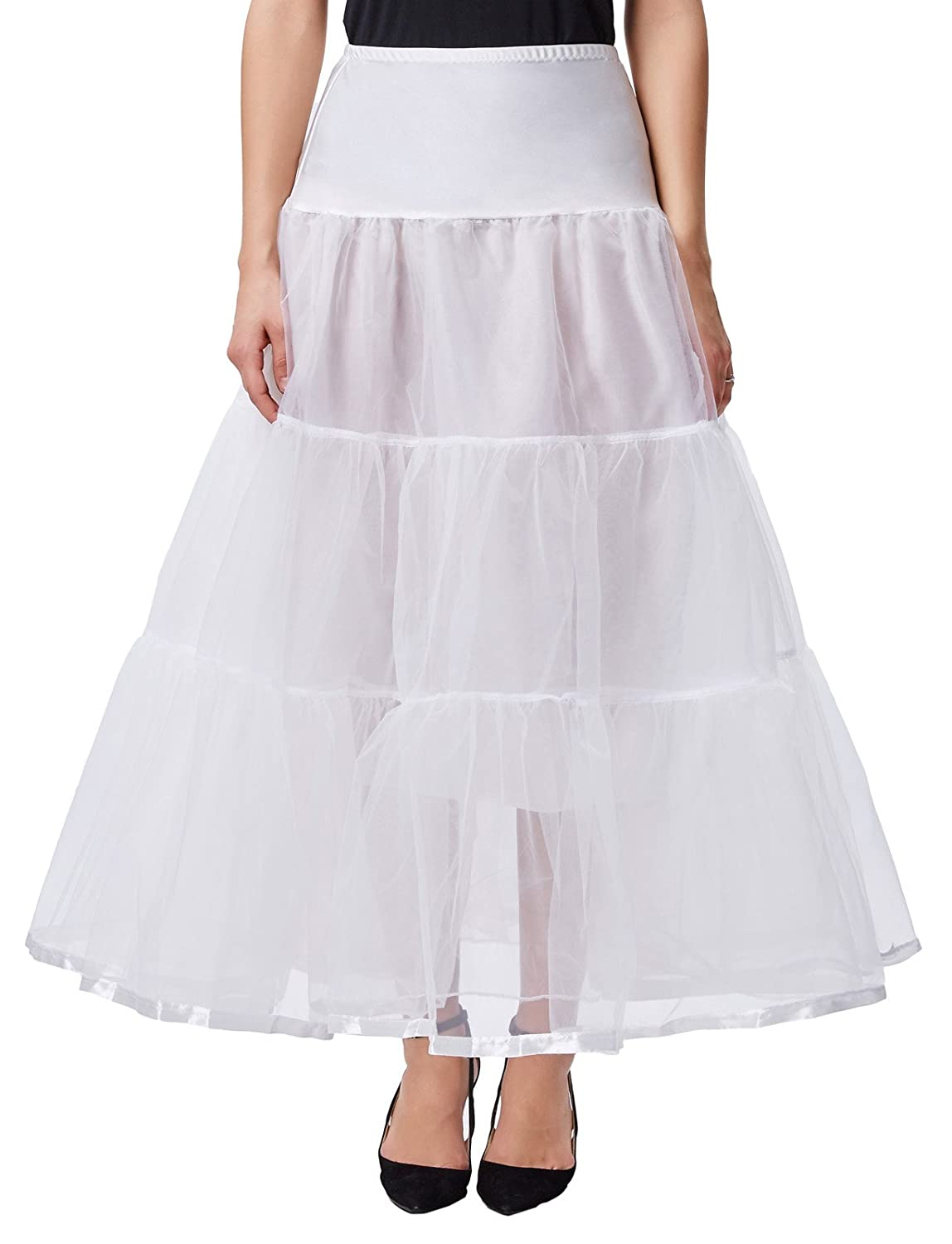 1950s Petticoat History  Ankle Length Petticoats Wedding Slips Plus Size S-3X GRACE KARIN Womens $19.99 AT vintagedancer.com
