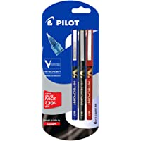 Pilot V7 Liquid Ink Roller Ball Pen (1 Blue + 1 Black + 1 Red)