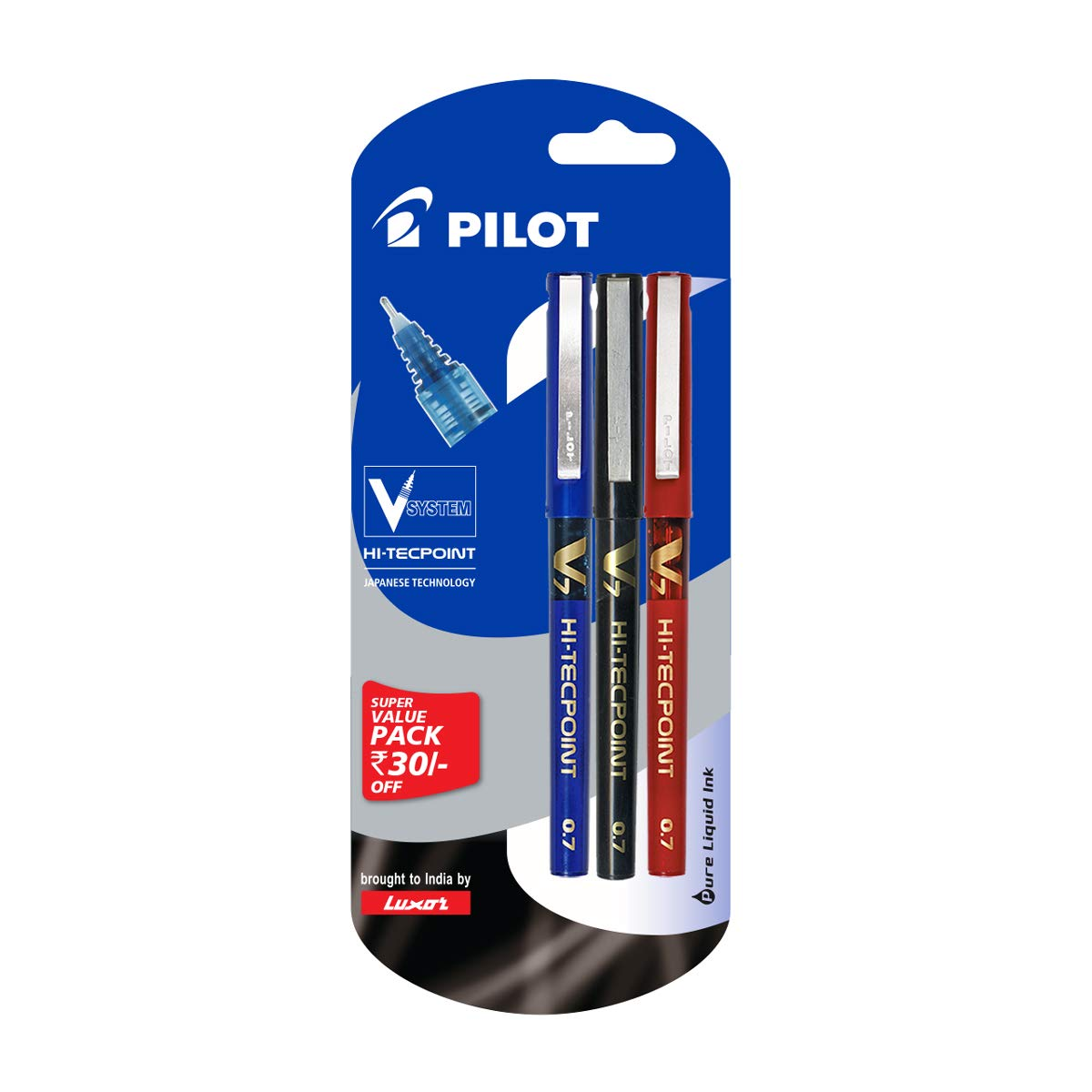 Pilot V7 Liquid Ink Roller Ball Pen (1 Blue + 1 Black + 1 Red) product image