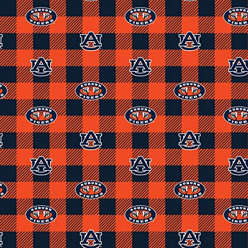 Auburn University Fleece Blanket Fabric-Auburn Tigers Fleece Fabric with Buffalo Plaid Design