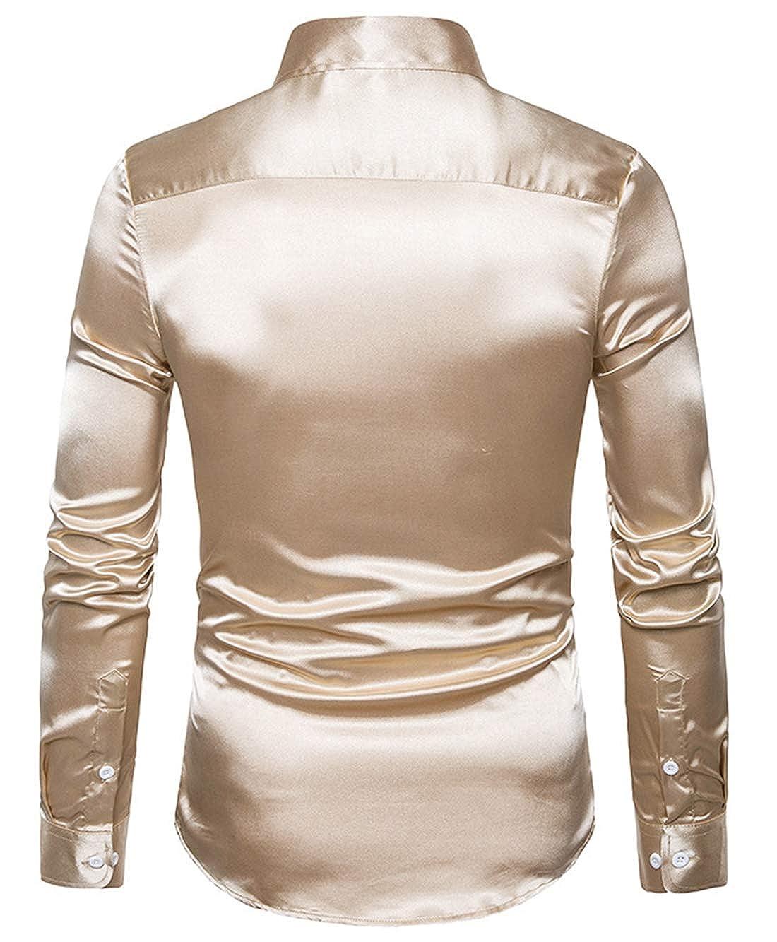 XTAPAN Mens Long Sleeve Casual Slim Fit Solid Button Down Dress Shirt