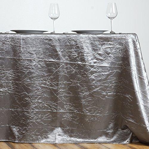 (LinenTablecloth Rectangular Crinkle Taffeta Tablecloth, 90 x 156, Silver)