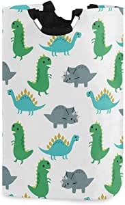 Kaariok Cute Cartoon Animal Dinosaurs Laundry Hamper with Handles Waterproof Collapsible Storage Basket Large Dirty Clothes Bin for Laundry Room, 22.7 Inches