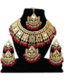 Finekraft Red Meena Kundan Pearls Gold Plated Necklace Set with Earrings and Tikka for Women