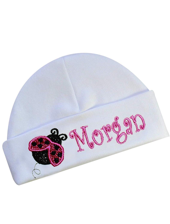 Embroidered Ladybug Baby Hat Personalized with Your Custom Name with Glitter Ladybug
