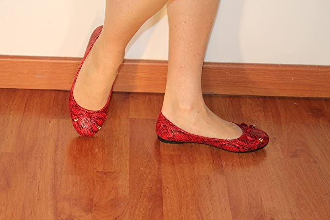 ChaussMoi Ballerina Red aspect Leather Shiny Effect Skin Snake:  Amazon.co.uk: Shoes & Bags