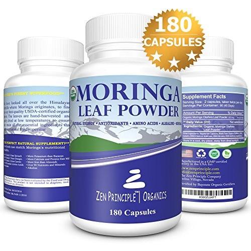180 Capsules Organic Moringa Oleifera. Ultra-Premium, 100% USDA Certified. Provides an All Natural Energy Boost and Multi-Vitamin. A Raw Superfood, Vegan, No GMO and Gluten Free, 2 bottles