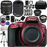 Nikon D5500 DX-format Digital SLR Body (Red) with Nikon AF-P DX NIKKOR 18-55mm f/3.5-5.6G VR Lens & Nikon AF-S DX VR Zoom-NIKKOR 55-200mm f/4-5.6G ED Lens - International Version (No Warranty) 32GB Bundle 24PC Accessory Kit