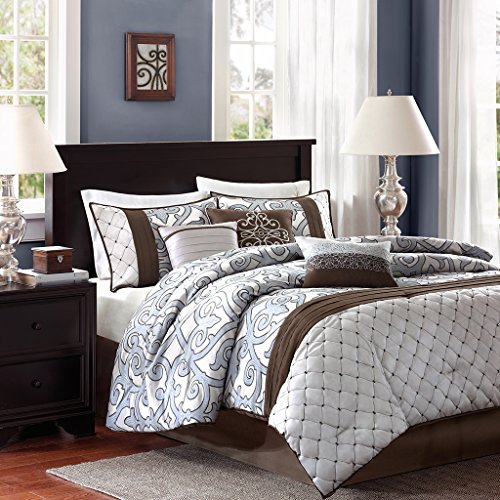 7 Piece Faux Silk (Madison Park Crosby King Size Bed Comforter Set Bed In A Bag - Brown, Silver, Blue, Pieced Jacquard Patterns – 7 Pieces Bedding Sets – Faux Silk Bedroom Comforters)