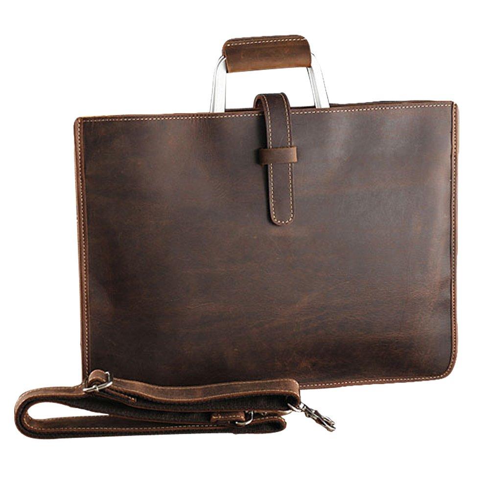 Egoelife Genuine Leather Messenger Bag Satchel Computer Laptop Bag 13 Inch Briefcase Case Vintage Retro Crossbody Handbag (Coffee)