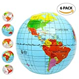 Inflatable World Globe Ball Set (Set of 6) by ArtCreativity, Print Blue and Clear | Colorful Earth Map, 12''-16'' Inflattable Beachball for Pool, Summer Fun Toys for Kids, Learning & More
