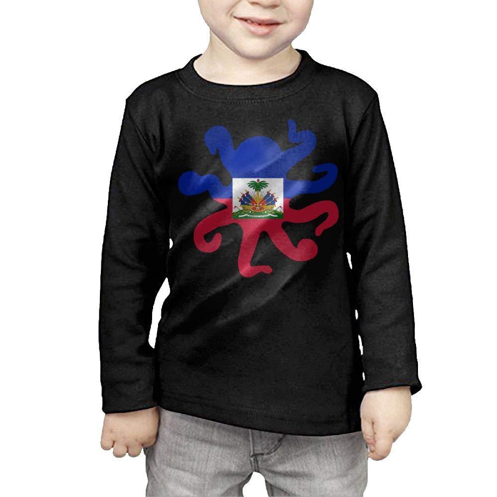 CERTONGCXTS Baby Girls Little Boys Haitian Flag Octopus Shaped ComfortSoft Long Sleeve Tee