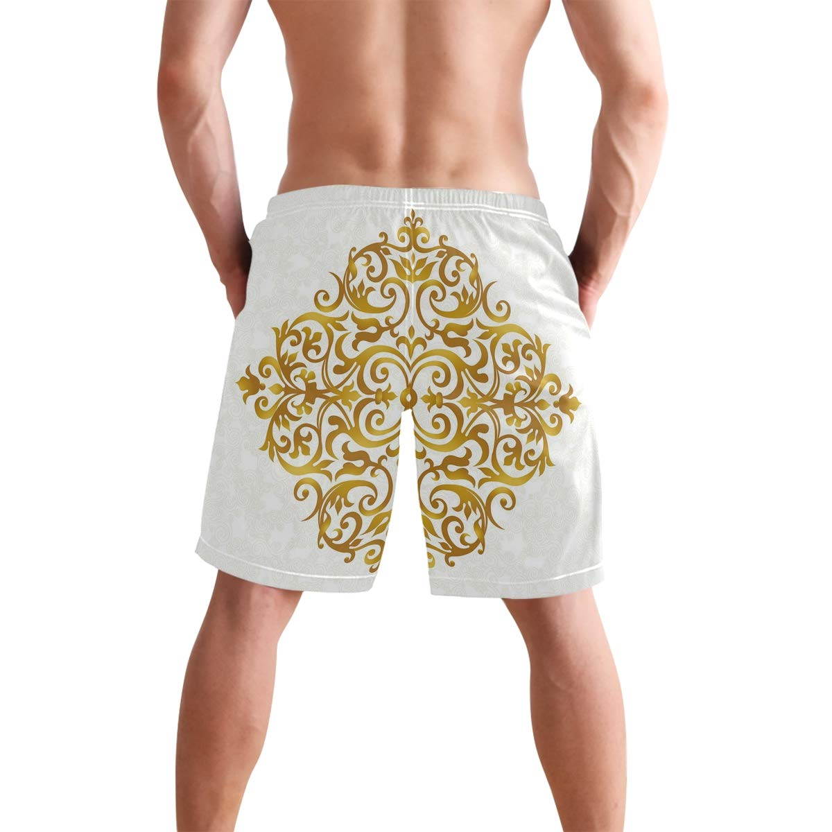 COVASA Mens Summer ShortsVictorian Style Swirls Flowers and Foliage Leaves Col