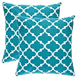 TreeWool, (2 Pack) Throw Pillow Covers Trellis Accent Decorative Pillowcases Toss Pillow Cushion Shams Slips Covers for Sofa Couch (20 x 20 Inches / 50 x 50 cm; Teal), White Background